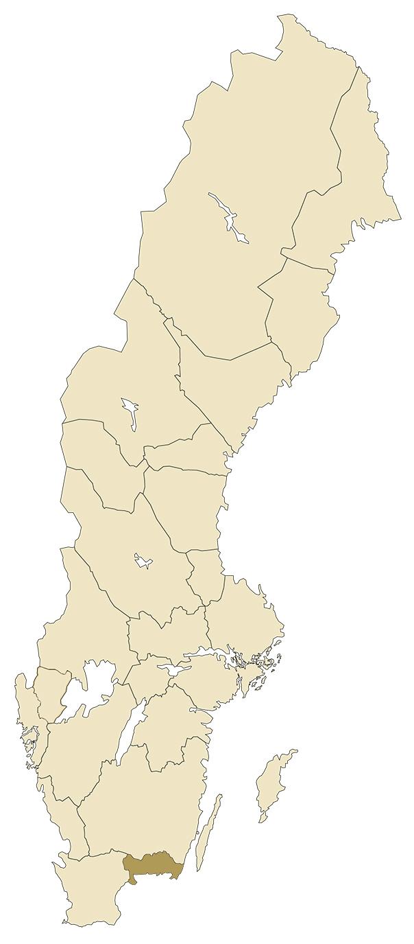 Blekinge på karta över Sverige