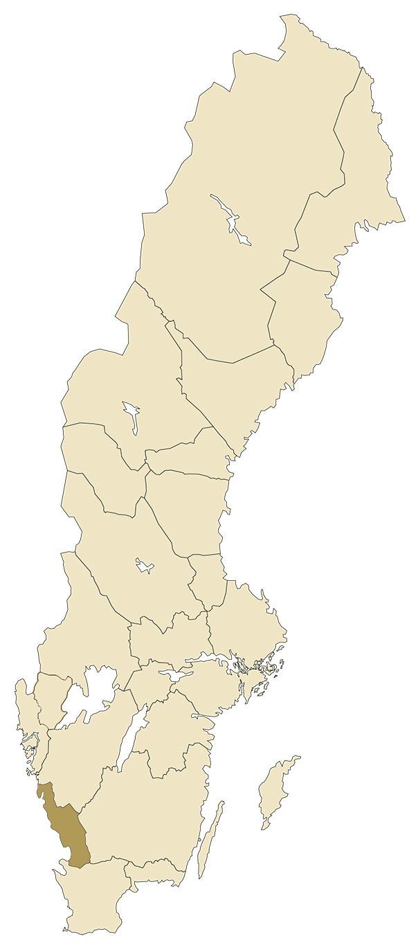 Halland på karta över Sverige