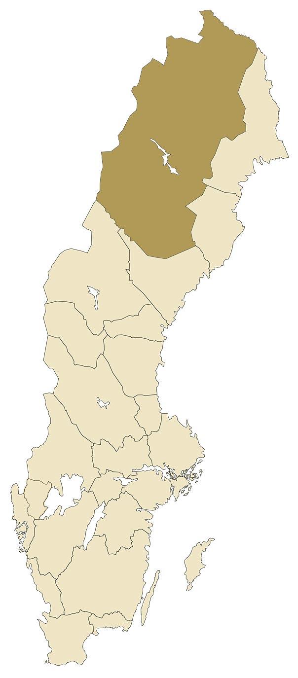 Lappland på karta över Sverige