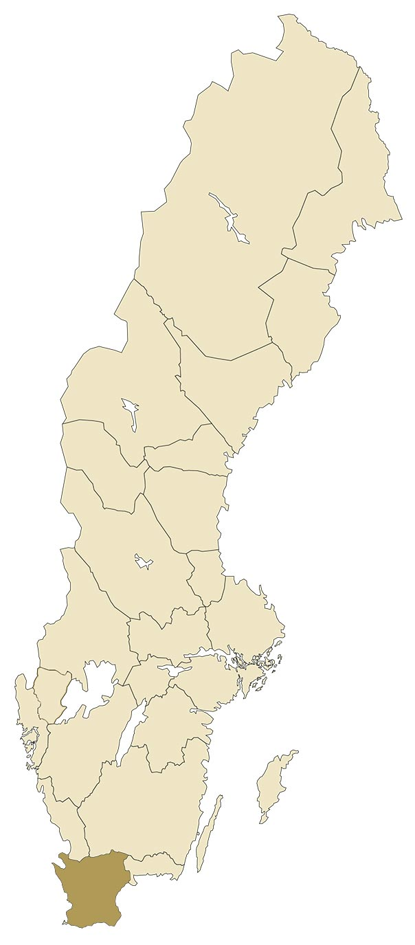 Skåne på karta över Sverige