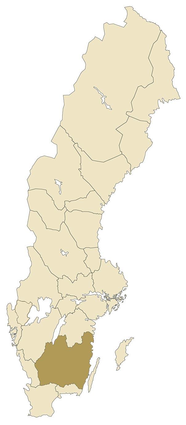 Småland på karta över Sverige