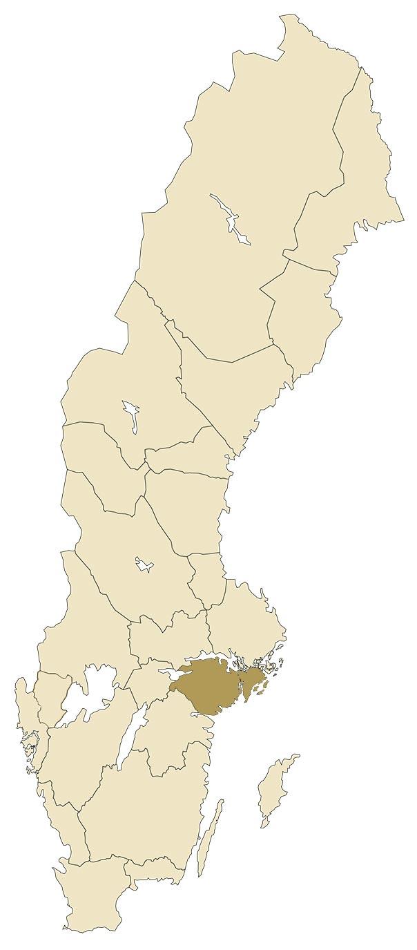 Södermanland på karta över Sverige