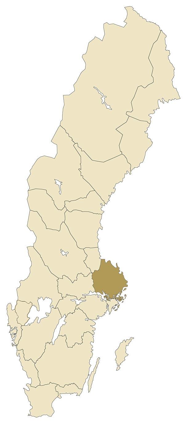 Uppland på karta över Sverige