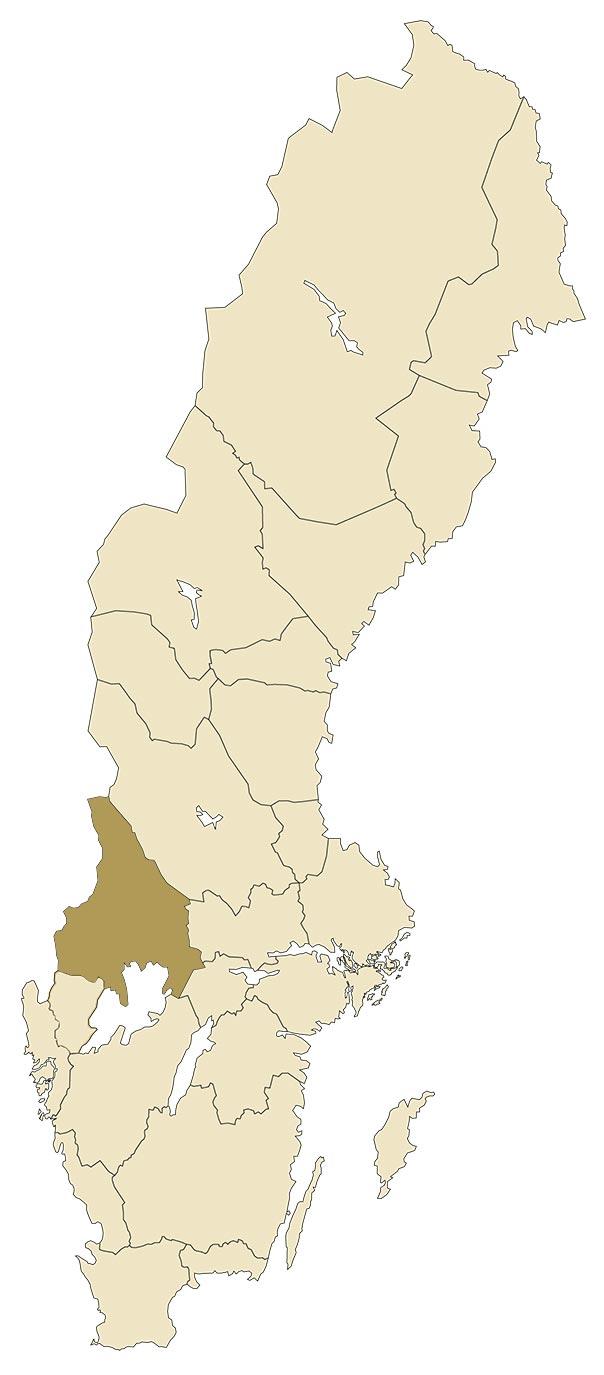 Värmland på karta över Sverige