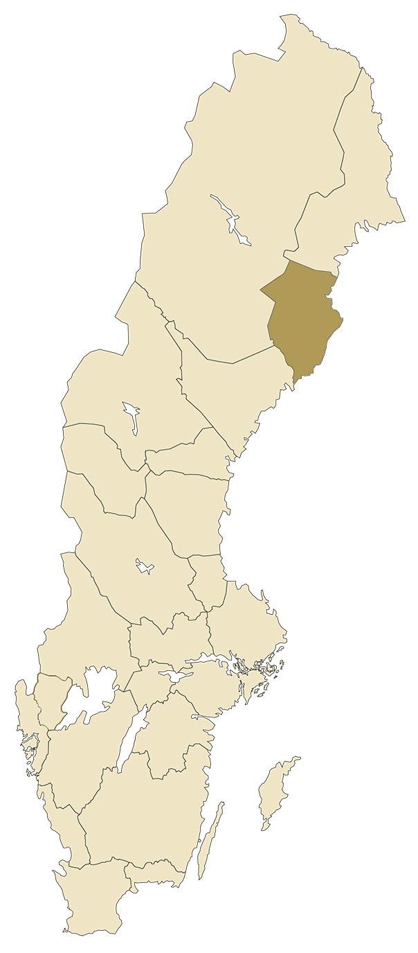 Västerbotten på karta över Sverige