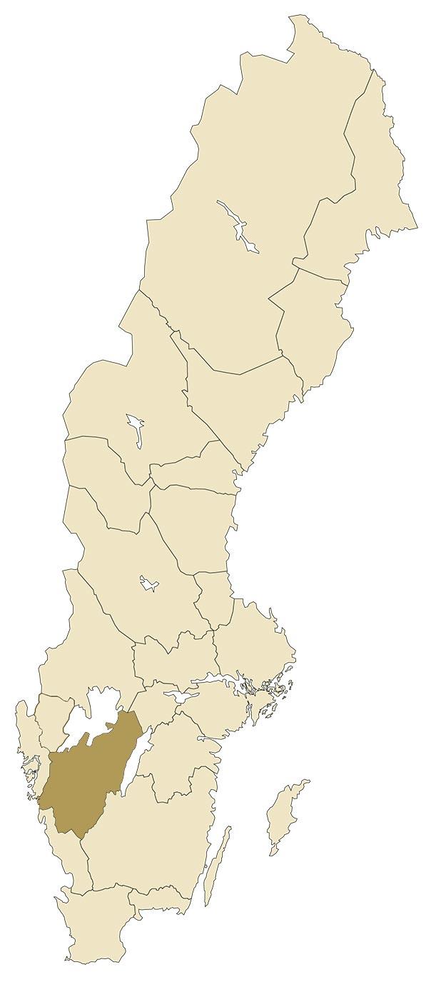 Västergötland på en karta över Sverige