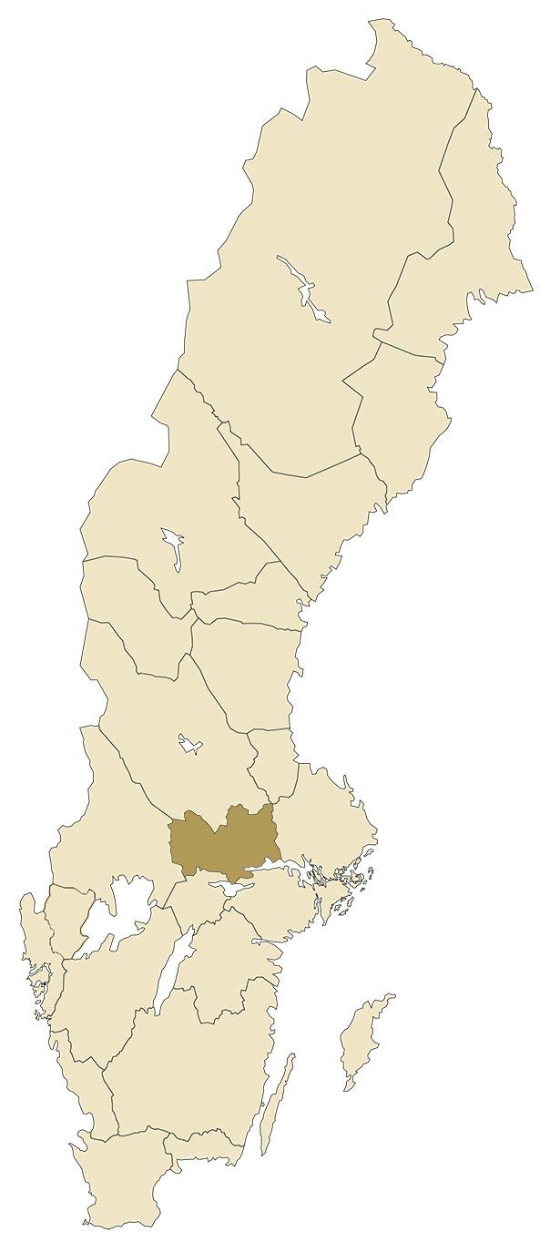Västmanland på karta över Sverige